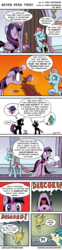 Size: 975x3938 | Tagged: alicorn, artist:pony-berserker, changedling, changeling, clock, coffee, comic, discord, draconequus, earth pony, female, gallus, gasp, griffon, implied applejack, implied manehattan, male, mare, ocellus, pony, raised hoof, safe, sandbar, spit take, spitting, twilight sparkle, twilight sparkle (alicorn)