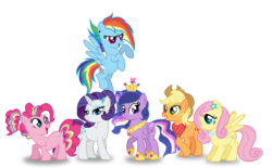 Size: 1971x1224 | Tagged: alicorn, alternate hairstyle, applejack, artist:rainbow15s, crown, ethereal mane, flower, flower in hair, fluttershy, hair bun, jewelry, mane six, neckerchief, necklace, pearl necklace, pinkie pie, pony, ponytail, princess shoes, rainbow dash, rainbow power, rarity, regalia, safe, simple background, starry mane, transparent background, twilight sparkle, twilight sparkle (alicorn)
