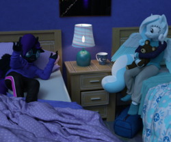 Size: 2400x2000 | Tagged: safe, artist:tahublade7, oc, oc:nyx, oc:snowdrop, alicorn, anthro, plantigrade anthro, 3d, bed, clothes, daz studio, high res, hoodie, lamp, pajamas, pants, socks, teddy bear