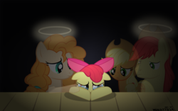 Size: 5500x3453 | Tagged: safe, artist:mrkat7214, apple bloom, applejack, bright mac, pear butter, earth pony, ghost, pony, feels, halo, sad, teary eyes