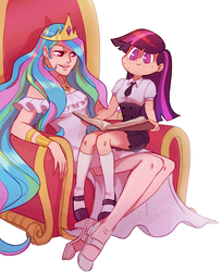 Size: 1407x1728 | Tagged: artist:bordogushter, book, chair, clothes, cute, cutelestia, ear piercing, earring, female, high heels, human, humanized, jewelry, piercing, princess celestia, regalia, safe, shoes, simple background, sitting, skirt, smiling, socks, sweat, twiabetes, twilight sparkle, white background