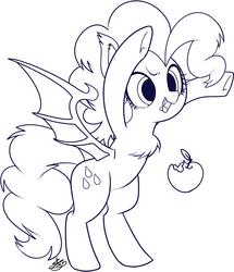Size: 991x1150 | Tagged: apple, artist:sibashen, bat ponified, bat pony, black and white, fangs, female, food, grayscale, mare, monochrome, pinkiebat, pinkie pie, pony, race swap, safe, sketch, solo, standing on hindlegs, traditional art, underhoof