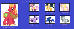 Size: 1355x549 | Tagged: alicorn, big macintosh, big macintosh gets all the mares, cheerilee, cheerimac, cleopatra jazz, editor:jdueler11, female, fluttermac, fluttershy, harem, lunamac, male, marblemac, marble pie, meme, pony, princess luna, safe, shipping, straight, twilight sparkle, twilight sparkle (alicorn), twimac