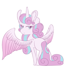 Size: 3000x3000 | Tagged: alicorn, artist:aesthetic-bagel, female, filly, looking back, older, pony, princess flurry heart, safe, simple background, solo, white background