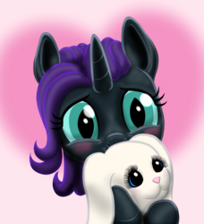 Size: 1024x1124 | Tagged: adorable face, alicorn, alicorn oc, animal, artist:vasillium, blushing, cute, diabetes, droopy ears, ears up, eye lashes, eye slits, female, filly, happy, holding, holding plushie, horn, looking, looking at you, mare, nose, nostrils, nyxabetes, oc, oc:nyx, oc only, pleading, plushie, pony, rabbit, safe, simple background, smiling, stuffed animals, wall of tags