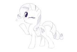Size: 1679x1138 | Tagged: artist:brisineo, blowing a kiss, female, heart, looking at you, monochrome, one eye closed, pony, raised hoof, rarity, safe, simple background, sketch, solo, unicorn, white background, wink