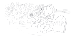 Size: 1716x883 | Tagged: artist:brisineo, bassoon, cello, clarinet, clothes, conductor, dancing, double bass, ghost, gravestone, graveyard, head wrap, monochrome, musical instrument, music notes, oc, orchestra, pegasus, pony, safe, scarf, simple background, sketch, smiling, trombone, trumpet, tuba, violin, white background