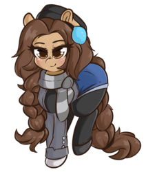 Size: 3031x3573 | Tagged: artist:wickedsilly, brown eyes, brown hair, clothes, earmuffs, earth pony, female, hat, large ass, leggings, mare, oc, oc:cecilia hoofbrook, pony, safe, scarf, shorts