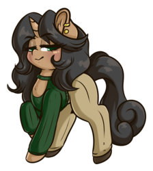 Size: 3193x3571 | Tagged: artist:wickedsilly, black hair, clothes, ear piercing, earring, female, green eyes, jewelry, looking at you, mare, oc, oc:cordelia hoofbrook, piercing, pony, safe, unicorn