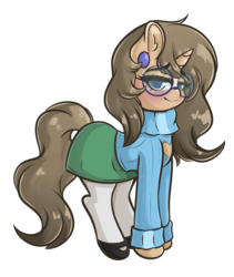 Size: 3089x3663 | Tagged: artist:wickedsilly, blushing, brown mane, clothes, cute, ear piercing, female, glasses, looking at you, mare, mary janes, oc, ocbetes, oc:diana hoofbrook, pantyhose, piercing, pony, safe, shoes, skirt, sweater, turtleneck, unicorn