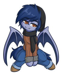Size: 3001x3617 | Tagged: artist:wickedsilly, bat pony, blue mane, clothes, eyebrows, fangs, hat, looking at you, male, oc, oc:speck (kazastrophic), orange eyes, pants, pony, safe, scarf, sitting, smiling, solo, spread wings, stallion