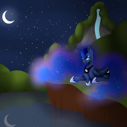 Size: 3000x3000 | Tagged: alicorn, artist:nathy2001, crescent moon, crossed hooves, ethereal mane, eyeshadow, laying down, lidded eyes, looking at you, makeup, moon, night, princess luna, reflection, safe, solo, starry mane, waterfall