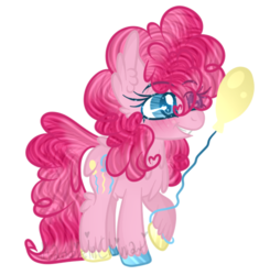Size: 447x457 | Tagged: artist:maddieinchina, artist:winanya, balloon, blushing, chest fluff, colored hooves, dock, ear fluff, fluffy, grin, pinkie pie, pony, raised hoof, safe, simple background, smiling, solo, transparent background, unshorn fetlocks