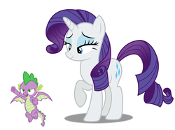 Size: 1284x955 | Tagged: bedroom eyes, dragon, pony, rarity, safe, simple background, spike, white background