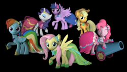 Size: 3840x2160 | Tagged: 3d, alicorn, applejack, artist:loveslove, clothes, dress, fluttershy, gala dress, mane six, party cannon, pinkie pie, rainbow dash, rarity, safe, source filmmaker, twilight sparkle, twilight sparkle (alicorn)
