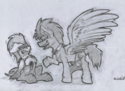 Size: 3439x2500 | Tagged: artist:adilord, bowtie, discorded whooves, discord whooves, doctor whooves, domination, looking at each other, male, monochrome, necktie, pegasus, pony, safe, simple background, sketch, stallion, time turner, traditional art, white background