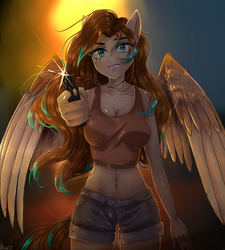 Size: 1350x1500 | Tagged: anthro, anthro oc, artist:alicesmitt31, clothes, female, gun, looking at you, midriff, oc, oc:amora bunny, oc only, pegasus, safe, shirt, shorts, weapon