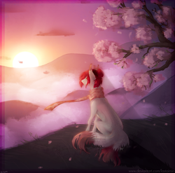 Size: 1145x1130 | Tagged: artist:lastaimin, cherry blossoms, clothes, earth pony, flower, flower blossom, oc, pony, safe, scarf, sitting, solo, sunset