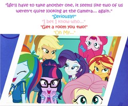 Size: 1921x1591   Tagged: safe, edit, edited screencap, editor:leonidus, screencap, applejack, fluttershy, pinkie pie, rainbow dash, rarity, sci-twi, sunset shimmer, twilight sparkle, equestria girls, equestria girls series, bedroom eyes, cowboy hat, dialogue, funny, geode of empathy, geode of shielding, geode of super speed, geode of super strength, geode of telekinesis, glasses, hat, holding hands, humane five, humane seven, humane six, implied lesbian, implied rarijack, implied shipping, in which pinkie pie forgets how to gravity, magical geodes, photo, photo booth, photography, pinkie being pinkie, pinkie physics, shipping fuel, stetson, text