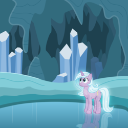 Size: 4000x4000   Tagged: safe, artist:devfield, radiant hope, crystal pony, pony, unicorn, idw, absurd resolution, cave, cavern, crystal, crystal caverns, crystal unicorn, female, frown, frozen pond, glow, light, looking up, mare, redo, reflection, rock, show accurate, snow, solo, sparkles, stalactite, stalagmite, wide eyes