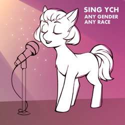 Size: 1181x1181 | Tagged: safe, artist:ponycloudlet, pony, commission, microphone, singing, sketch, solo, your character here