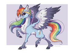 Size: 2708x1912 | Tagged: safe, artist:marbola, rainbow dash, pegasus, pony, backwards cutie mark, colored wings, female, looking at you, mare, raised hoof, smiling, solo, unshorn fetlocks