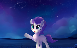 Size: 2300x1432 | Tagged: artist:aureai, butt fluff, chest fluff, cloud, cute, ear fluff, female, field, flower, glowing eyes, grass, happy, hill, hoof fluff, leg fluff, looking up, mare, neck fluff, night, oc, ocbetes, oc only, oc:sky spark, open mouth, pointing, pony, raised hoof, safe, scenery, shooting star, shooting stars, sky, smiling, solo, stargazing, stars, underhoof, unicorn