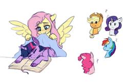 Size: 677x437   Tagged: safe, artist:saphi-boo, applejack, fluttershy, pinkie pie, rainbow dash, rarity, twilight sparkle, alicorn, pony, blanket, book, cloven hooves, female, lesbian, mane six, shipping, sleeping, smiling, twilight sparkle (alicorn), twishy
