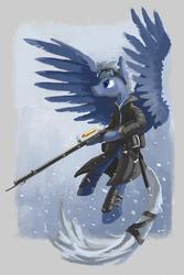 Size: 1181x1772 | Tagged: safe, artist:plainoasis, pegasus, pony, clothes, gun, solo, weapon