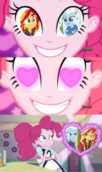 Size: 1280x2160 | Tagged: artist:themexicanpunisher, coinky-dink world, edit, eqg summertime shorts, equestria girls, equestria girls series, female, forgotten friendship, heart eyes, lesbian, pinkie pie, pinkie's eyes, safe, shipping, sunset shimmer, suntrix, trixie, wingding eyes