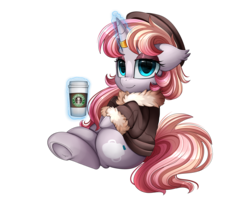 Size: 2950x2350 | Tagged: safe, artist:pridark, oc, oc only, pony, unicorn, clothes, coffee, coffee cup, commission, cup, female, high res, horn ring, levitation, magic, mare, simple background, sitting, smiling, smug, solo, starbucks, telekinesis, transparent background, underhoof
