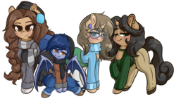 Size: 1979x1113 | Tagged: artist:wickedsilly, bat pony, blue eyes, brown eyes, clothes, ear piercing, earth pony, female, glasses, green eyes, hat, looking at you, male, mare, oc, oc:cecilia hoofbrook, oc:cordelia hoofbrook, oc:diana hoofbrook, oc only, oc:speck (kazastrophic), orange eyes, piercing, pony, safe, scarf, size comparison, size difference, unicorn