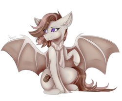 Size: 3000x2500 | Tagged: safe, artist:dawndream2003, oc, oc:toffee, bat pony, pony, clothes, female, mare, scarf, simple background, sitting, solo, transparent background