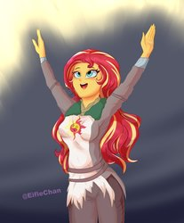 Size: 2900x3500 | Tagged: safe, artist:katakiuchi4u, sunset shimmer, equestria girls, blushing, clothes, crossover, cute, dark souls, faic, female, freckles, open mouth, pants, peppered bacon, praise the sun, shimmerbetes, solaire of astora, solo, when you see it