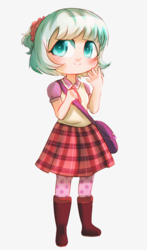 Size: 2017x3428 | Tagged: safe, artist:rizzych, coco pommel, human, anime, bag, boots, chibi, clothes, cute, digital art, female, flower, flower in hair, human female, humanized, plaid skirt, purse, shoes, simple background, skirt, solo, white background