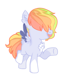 Size: 900x1000 | Tagged: artist:flurobloom, base used, blank flank, chest fluff, colored wings, colored wingtips, colt, ear fluff, hair over eyes, male, oc, oc:feather duster, offspring, parent:rainbow dash, parent:soarin', parents:soarindash, pegasus, pony, raised hoof, safe, simple background, socks (coat marking), solo, transparent background