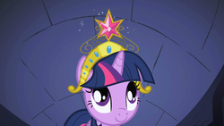 Size: 1280x720 | Tagged: safe, screencap, twilight sparkle, pony, friendship is magic, big crown thingy, castle of the royal pony sisters, element of magic, jewelry, looking up, regalia, solo