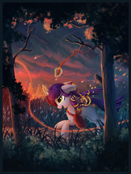 Size: 2079x2760 | Tagged: artist:atlas-66, bag, curved horn, female, glowing horn, grass, high res, horn, levitation, magic, mare, net, oc, oc only, open mouth, path, pony, running, saddle bag, safe, scenery, scenery porn, stars, telekinesis, tree, unicorn