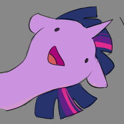 Size: 1204x1204 | Tagged: safe, artist:pucksterv, pony, :d, bust, derp, female, floppy ears, gray background, icon, minimalist, modern art, open mouth, simple background, smiling, solo, wat