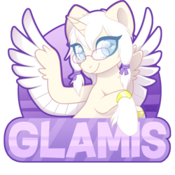Size: 1000x1000 | Tagged: safe, artist:sickly-sour, oc, oc only, oc:glamis, alicorn, pony, alicorn oc, blue eyes, bracelet, commission, glasses, jewelry, looking at you, pigtails, purple background, simple background, smiling, solo, spread wings, transparent background, wings