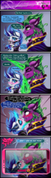 Size: 2162x7529 | Tagged: safe, artist:dimidiummorsumbra, masquerade, pinkie pie, rarity, spike, bandana, comic, dialogue, eyes closed, eyeshadow, female, glowing horn, kissing, makeup, male, older, older spike, phone, ponified, ponified spike, shipping, sparity, species swap, straight, stupid sexy spike, tongue out