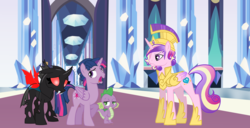Size: 1280x655 | Tagged: alicorn, armor, artist:jaquelindreamz, artist:kayman13, artist:pink1ejack, artist:sollace, artist:trotsworth, barb, changeling, crystal, crystal empire, dragon, dragoness, dusk shine, female, helmet, hoof shoes, male, mesosoma, pony, prince bolero, princess cadance, quartet, red eyes, rule 63, safe, spike, stallion, the times they are a changeling, thorax, throne room, twilight sparkle, uhh i can explain