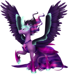 Size: 1024x1148 | Tagged: alicorn, armor, artist:toskurra, equestria girls, equestria girls ponified, glowing horn, hoof shoes, leonine tail, midnight sparkle, ponified, pony, safe, scowl, simple background, solo, spread wings, transparent background, twilight sparkle, wings