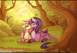 Size: 2520x1747 | Tagged: safe, artist:marbola, fluttershy, twilight sparkle, alicorn, pegasus, pony, boop, chest fluff, cloven hooves, colored hooves, colored wings, eyes closed, female, floppy ears, forest, grass, leonine tail, lesbian, mare, noseboop, nuzzling, scenery, shipping, tree, twilight sparkle (alicorn), twishy, unshorn fetlocks, water