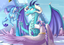 Size: 1040x731 | Tagged: artist:bijutsuyoukai, dracony, hybrid, interspecies offspring, magical lesbian spawn, oc, oc:frostbite, offspring, older, older flurry heart, parent:princess ember, parent:princess flurry heart, parents:emberheart, princess ember, princess flurry heart, safe