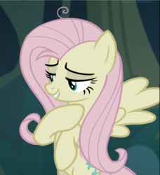 Size: 855x939 | Tagged: safe, screencap, mean fluttershy, pegasus, pony, the mean 6, clone, female, flying, hooves to the chest, lidded eyes, looking at something, looking away, looking down, mare, mocking, smiling, solo, spread wings, stray strand, three quarter view, wings