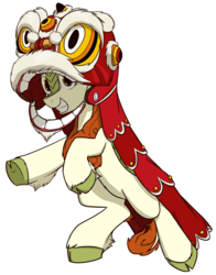 Size: 1100x1400 | Tagged: safe, artist:alexi148, autumn blaze, kirin, sounds of silence, awwtumn blaze, chinese new year, clothes, costume, cute, female, hoofy-kicks, lion dance, looking at you, mare, simple background, smiling, solo, transparent background, underhoof