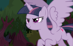 Size: 1461x933 | Tagged: alicorn, clone, cropped, evil grin, female, flying, grin, mean twilight sparkle, pony, safe, screencap, sinister, smiling, solo, spread wings, the mean 6, wings