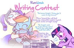Size: 1048x673 | Tagged: safe, artist:raridashdoodles, rainbow dash, rarity, twilight sparkle, alicorn, pony, alternate universe, blushing, female, hug, knight, lesbian, out of character, paper, princess, raridash, raridash writing contest, role reversal, shipper on deck, shipping, twilight sparkle (alicorn), typewriter