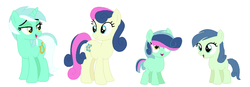 Size: 1162x406 | Tagged: artist:cindyter, bon bon, female, lesbian, lyrabon, lyra heartstrings, magical lesbian spawn, oc, offspring, parent:bon bon, parent:lyra heartstrings, parents:lyrabon, pony, safe, shipping, sweetie drops